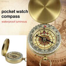 Brass Pocket Watch Style Navigation Compass Ring Keychain Outdoor Camping