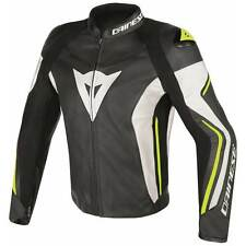 Dainese Assen Moto Motocicletta in pelle Giacca Nera/Bianco/Giallo Fluo