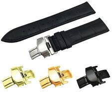 Black Genuine Leather Croco Strap/Band fit TISSOT Watch Clasp 18 19 20 21 22mm