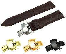 Dark Brown Real Leather Croco Strap/Band fit TISSOT Watch Clasp 18 20 21 22mm