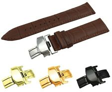 Brown Genuine Leather Croco Strap/Band fit TISSOT Watch Clasp 18 19 20 21 22mm