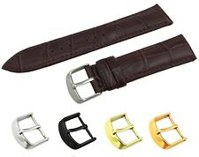 Dark Brown Genuine Leather Croco Strap Band fit TISSOT Watch Buckle 18 20 22mm