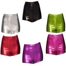 Girls Foil Metallic Dance Fitness Sports Gym Hot Pants Shorts Size 2-14 Years