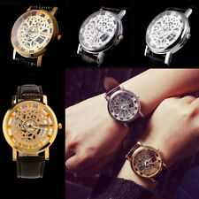 Skeleton Dial Mens Leather Band Stainless Steel Dial Wrist Watch Wristwatch NEW
