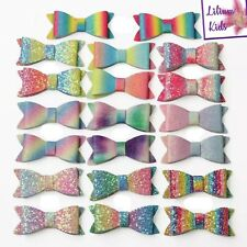 """Multi Coloured Glitter Hair Bows - Various Designs 2.8"""" - with clips"""