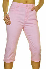Diamante Cuff Crop Leg Capri Stretch Jeans Pastel Pink NEW 18-22