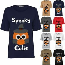 Ladies Womens Spooky Halloween Cutie Baggy Cap Sleeve Oversized Tee T-Shirt Top