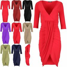 Womens Ladies Short Sleeves Cross Over Stretchy Mini Top Ruched Draped Dress Top