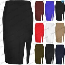 Womens Side Split Casual Pencil Slit Stretch Midi Skirt Ladies Bodycon Plus Size