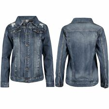 Ladies Womens Collared Denim Ripped Destroyed Coat Jeans Biker Faded Jean Jacket