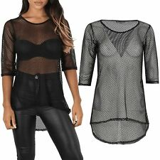Womens 3/4 Sleeve See Through Curved Hem Ladies Fish Net High Low Round Neck Top