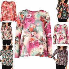 Women Ladies Printed Long Sleeve Stretchy Flared Swing Tee T Shirt Top Plus Size