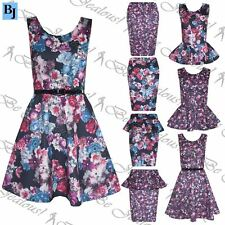 New Womens Ladies Floral Pencil Peplum Top Frill Bodycon Midi Skirt Skater Dress