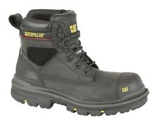 MENS CAT CATERPILLAR SIZE 6 7 8 9 10 11 12 BLACK OILY LEATHER SAFETY WORK BOOTS