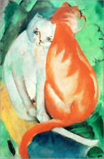 Póster, lienzo o cuadro en metacrilato Cats, red and white - Franz Marc