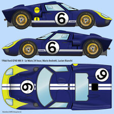 1966 GT40 Mk II Le Mans #6 water transfer decals, Mario Andretti/Lucien Bianchi