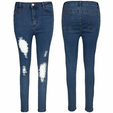 Womens Ladies Skinny Trouser Raw Edges Destroyed Distressed Knee Cut Denim Jeans
