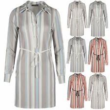 Womens Casual Party Shirt Dress Ladies Long Sleeves Stripes T Shirt Size S-XL