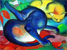Póster, lienzo o cuadro en metacrilato Two cats, blue and yellow - Franz Marc