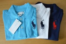 RALPH LAUREN cotton mesh baby Boy polo shirt BIG PONY 3 to 24 Months blue white
