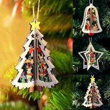 Wooden Christmas Tree Pattern Ornaments Hanging Home Party Props Decor Pendants