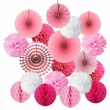 Cocodeko Hanging Paper Fans Tissue Paper Pom Poms Flower and Honeycomb Balls