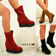 LADIES WOMENS ZIP HIGH TOP ANKLE BOOTS PLATFORM WEDGE HEELS SHOES SIZE