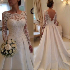 White/Ivory Lace/Satin Wedding Dress Bridal Gown Stock size6.8.10.12.14.16.18.20