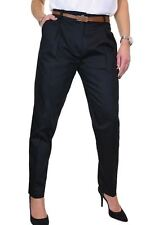 NEW Chino Pleated Tapered Cigarette Leg Trousers FREE Belt Black 8-22