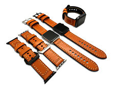 Thick Orange Leather Watch Strap Band for Apple Watch 4 & 1 2 3 38/40/42/44mm