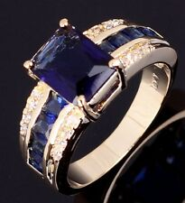 Jewelry Halo Mans Womans Blue Sapphire Gold Filled Engagement Ring Size 7-11