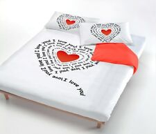 Copripiumino made in italy stampa digitale Love Cuore , 100% Cotone