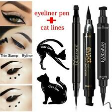 1Pcs Dual-ended Liquid Eyeliner Pen with Seal+2Pcs Cat Eyebrow Template New DLUK