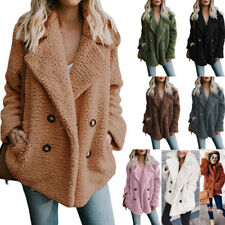 Women Solid Colorful Pocket Fluffy Coat Fleece Button Casual Jackets Outerwear