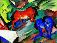 Póster, lienzo o cuadro en metacrilato Red and Blue Horses - Franz Marc
