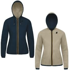 K-WAY PELLE LILY KL AIR DOUBLE Giacca DONNA reverse KWAY imperm. Blu Beige 981qm