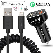 For iPhone XS XS MAX XR 8 Cable Lightning USB Charging Data Sync + Car Charger