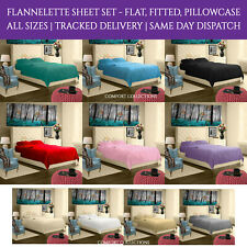 Flannelette Sheet Set With Fitted Flat & Pillowcase Single Double King Superking