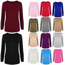 Womens Ladies Celebrity Plain Stretchy Long Sleeves Round Neck T Tee Shirt Top