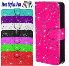 Bling Glitter Leather side open flip book Case Cover For Samsung Various Phones