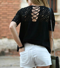 ZARA BLACK SMART TOP BLOUSE WITH CROCHET GUIPURE LACE DETAIL NEW
