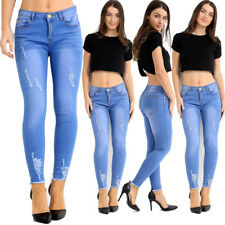 Ladies Womens Skinny highwaist ripped distressed acid wash denim jeans