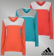 Ladies Genuine Adidas Cotton Perforations V Neck Golf Sweater Jumper Size 8-16