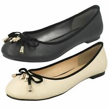 Ladies Spot On Flat Ballerina with Metal 'Bow Detail'