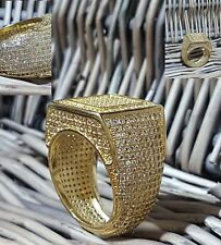 GOLD FILLED REAL MICRO PAVE BLING CZ SIMPLE HIP HOP BLING RING MEN ICED OUT CZ