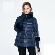 Jacket Winter Women Coats Collar Sleeve Casual For Ladies Solid Zipper Polyester