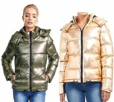 Womens Brave Soul Metallic Sliver Rose Gold Padded Puffer Hooded Jacket Coat