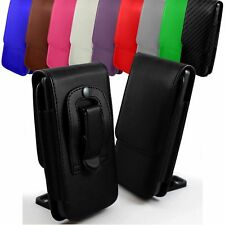 PU Leather Vertical Faux Belt Holster Case Cover for Huawei Phone Models