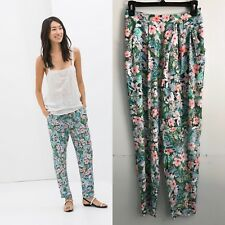 Zara Women's Floral Printed Pleated Trousers Pants Size s NGQ