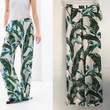 Zara Women's Printed Trousers Green Leaves Pants Size s M NG33
